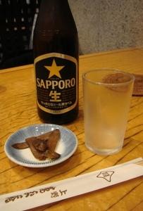 池之端「連玉庵」 ビールお通し.jpg
